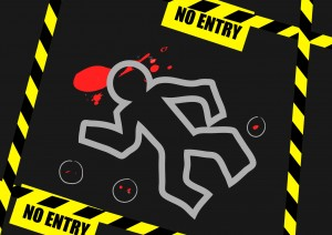 Vector : Chalk outline of dead body blood and no entry label on